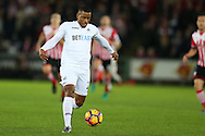 Luciano Narsingh of Swansea city in action. Premier league match, Swansea city v Southampton at the Liberty Stadium in Swansea, South Wales on Tuesday 31st January 2017.<br /> pic by  Andrew Orchard, Andrew Orchard sports photography.