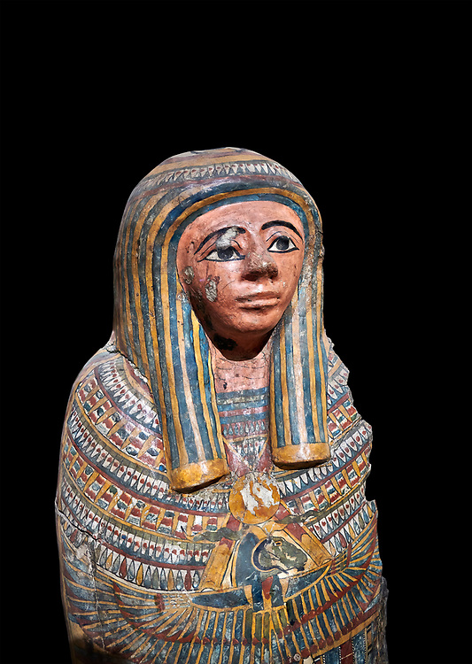 Ancient Egyptian Cartonnage funerary mask from the Third Intermediate Period, 22nd Dynasty (944-1025BC).  Egyptian Museum, Turin. black background<br /> <br /> Made from overlapping papyrus and cloth this cartonnage has been decorated with a weskh collar over which are depicted two crossed cloth strips that represent the last bandages of the deceased mummy wrappings. below this is depicted the rams head of god Amon-Ra against the out stretched wings of a vulture .<br /> <br /> If you prefer to buy from our ALAMY PHOTO LIBRARY  Collection visit : https://www.alamy.com/portfolio/paul-williams-funkystock/ancient-egyptian-art-artefacts.html  . Type -   Turin   - into the LOWER SEARCH WITHIN GALLERY box. Refine search by adding background colour, subject etc<br /> <br /> Visit our ANCIENT WORLD PHOTO COLLECTIONS for more photos to download or buy as wall art prints https://funkystock.photoshelter.com/gallery-collection/Ancient-World-Art-Antiquities-Historic-Sites-Pictures-Images-of/C00006u26yqSkDOM