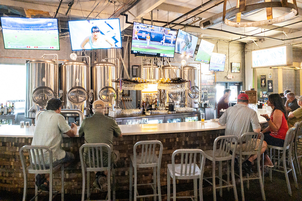 Bar seating at Akademia Brewing Company in Athens, Georgia on Wednesday, July 14, 2021. Copyright 2021 Jason Barnette