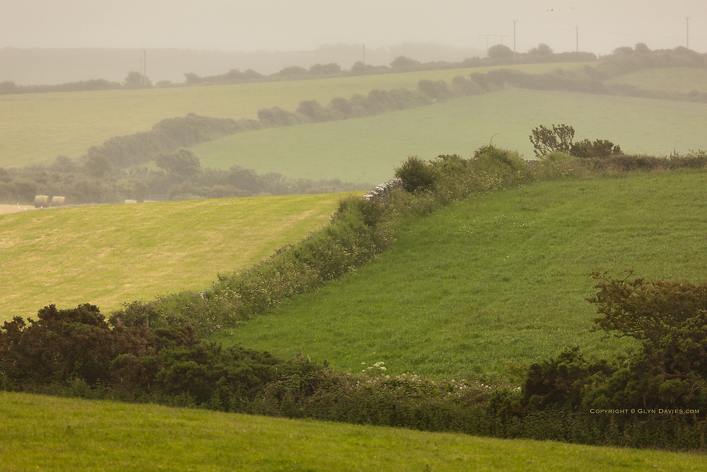 Mist lingers over rural farmland and numerous green grass fields adjacent to Wylfa Nuclear Power Station, North Anglesey.