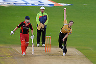 Warwickshire's  Chris Woakes bowling .Friends Life T20 match, Glamorgan Dragons v Warwickshire Bears at the Swalec stadium in Cardiff, South Wales on Sunday 17th June 2012. pic by Andrew Orchard, Andrew Orchard sports photography,