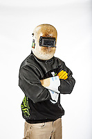 Commercial product photoshoot for Up In Smoke Welding Apparel at an industrial fabrication yard in Alberta. Images to be used for the website and other marketing tools to help sell the products to other welders.<br /> <br /> ©2016, Sean Phillips<br /> http://www.RiverwoodPhotography.com