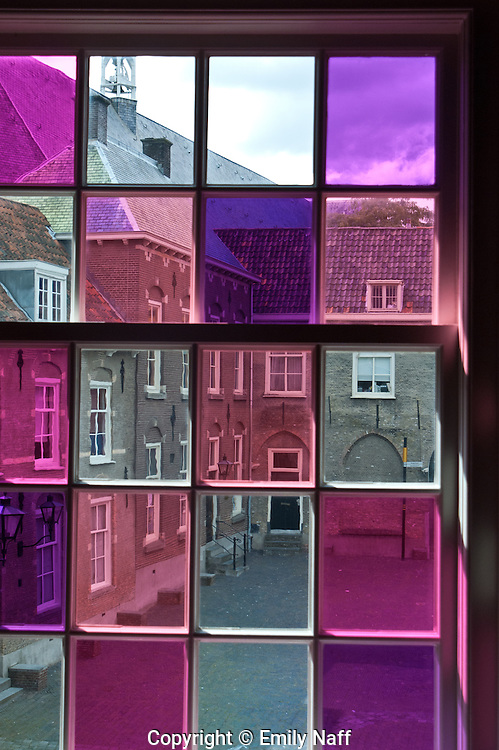 View of Dordrecht Courtyard through colored glass.
