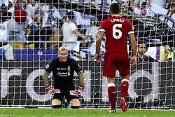 Loris Karius of Liverpool cuts a dejected figure after his error helps Gareth Bale of Real Madrid score his second goal - Mandatory by-line: Robbie Stephenson/JMP - 26/05/2018 - FOOTBALL - Olympic Stadium - Kiev,  - Real Madrid v Liverpool - UEFA Champions League Final
