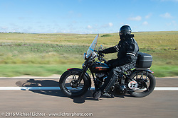 Brent Mayfield on his 1935 Harley-Davidson VJ Antique Motorcycles during Stage 8 of the Motorcycle Cannonball Cross-Country Endurance Run, which on this day ran from Junction City, KS to Burlington, CO., USA. Saturday, September 13, 2014.  Photography ©2014 Michael Lichter.