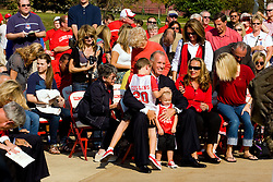 19 September 2009: Doug Collins is surrounded by his family as Illinois State University took the day to celebrate 2 of it's own, the late Will Robinson and national hero Doug Collins.  Will Robinson became the first black head basketball coach in NCAA Division I history when names ISU basketball coach in 1970.  Doug Collins was an Illinois State standout basketball player who represented the United States in the 1972 Olympics, played NBA ball for several years where he later coached and recently recieved the Curt Gowdy Media Award for career in broadcasting.  A statue was erected in their honor on the terrace just north of the main entrance to Redbird Arena on ISU's campus in Normal IL