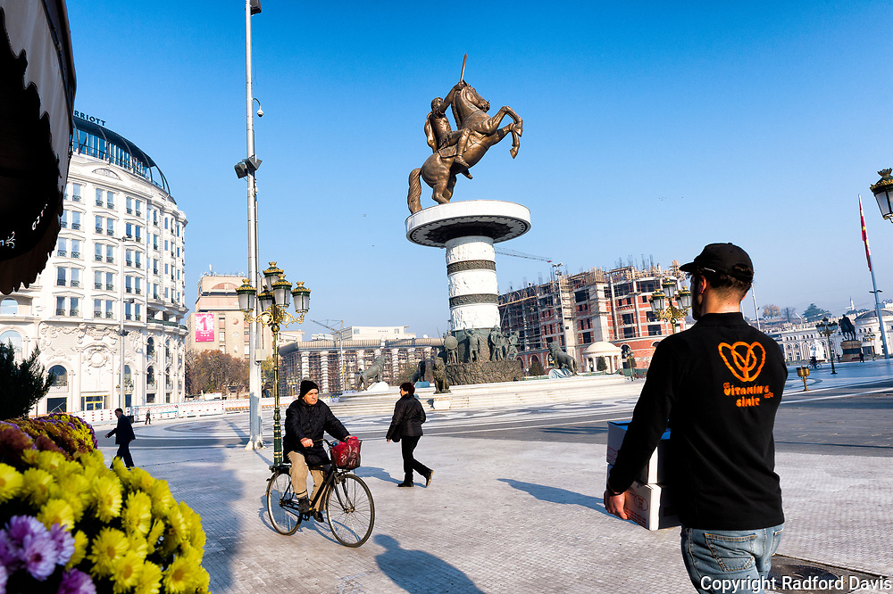 The central square of Skopje, Macedonia, with Alexander the Great high on his horse.