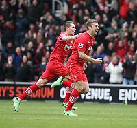 Football - 2012 / 2013 Premier League - Southampton vs. Chelsea<br /> Southampton's Rickie Lambert celebrates scoring