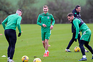 Trialist Robbie Crawford (centre) during the Hibernian training session at Hibernian Training Centre, Ormiston, Scotland on 27 November 2020, ahead of their Betfred Cup match against Dundee.