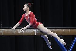 March 2, 2019 - Greensboro, North Carolina, US - YUFEI LU from China competes on the balance beam at the Greensboro Coliseum in Greensboro, North Carolina. (Credit Image: © Amy Sanderson/ZUMA Wire)