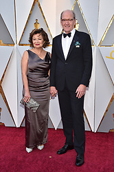 Sharon R. Friedrick (L) and Richard Jenkins walking the red carpet as arriving for the 90th annual Academy Awards (Oscars) held at the Dolby Theatre in Los Angeles, CA, USA, on March 4, 2018. Photo by Lionel Hahn/ABACAPRESS.COM