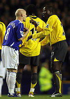 Photo: Paul Thomas.<br /> Everton v Arsenal. Carling Cup. 08/11/2006.<br /> <br /> Andy Johnson (L) of Everton and Emmanuel Eboue argue over the tackle in the Arsenal box which James McFadden got sent off for argueing with referee Graham Poll.
