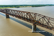 63807-01106 Freight train on Union Pacific railroad crossing the Mississippi river on the Thebes bridge Thebes, IL