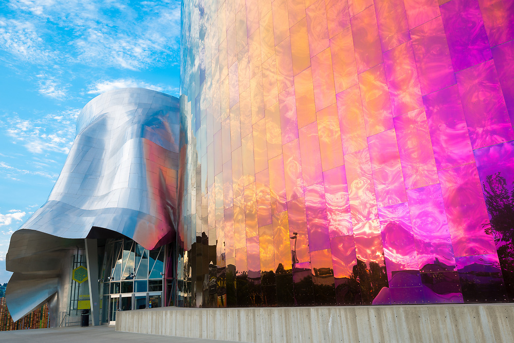 Seattle, Washington State, United States - Facade of the EMP Museum designed by Frank Gehry, Seattle Center,