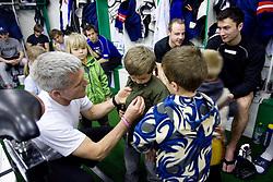 Head coach of Slovenia John Harrington, Jan Mursak and Sabahudin Kovacevic of Slovenian Ice Hockey National team  at visit of children of kindergarten Mojca from Dravlje, Ljubljana during the IIHF World Championship Division 1 Group B tournament, on April 21, 2010, in Hala Tivoli, Ljubljana, Slovenia.  (Photo by Vid Ponikvar / Sportida)