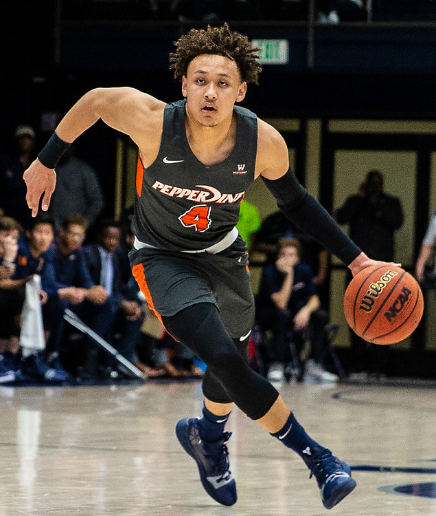 Feb 16  2019 Moraga, CA  U.S.A. Pepperdine guard Colbey Ross (4) drives to the basket during the NCAA Men's Basketball game between Pepperdine Waves and Saint Mary's Gaels 65-72 lost at McKeon Pavilion Moraga Calif. Thurman James / CSM