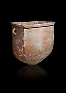 Hittite pottery container with handles from the Hittite capital Hattusa, Hittite New Kingdom 1650-1200 BC, Bogazkale archaeological Museum, Turkey. Black  background