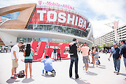 LAS VEGAS, NV - JULY 9:  Fans take photos outside before doors open for UFC 200 at T-Mobile Arena on July 9, 2016 in Las Vegas, Nevada. (Photo by Cooper Neill/Zuffa LLC/Zuffa LLC via Getty Images) *** Local Caption ***
