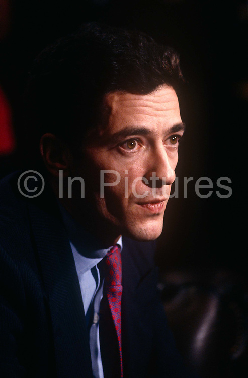 Businessman, Kevin Maxwell b1959 - second son of media tycoon Robert Maxwell - at a press conference on 6th November 1991 in London England. just after his fathers unexplained death from a boat in the Mediterranean. After Robert Maxwells death in November that year, huge discrepancies in the companies finances were revealed, including his fraudulent misappropriation of the Mirror Group pension fund. As a result, Kevin became the biggest personal bankrupt in UK history with debts of £406.5 million in 1992. He was later tried and acquitted of fraud arising from his role in his fathers companies.