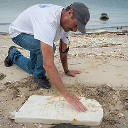 """August 4, 2017 - Tangier Island, VA - Old gravestones frequently are unearthed on the part of Tangier Island known as """"The Uppards."""" Here, Mayor James """"Ooker"""" Eskridge wipes off sand from one of his wife's ancestors (Pruitts) gravestones on the island.  The Uppards was a previously habited portion of Tangier Island that is today very diminished in size due to erosion.  A few of the old homes from this area of the island have been moved to the more inhabited part of the island, across a widening waterway once accessible by bridge. That bridge no longer exists<br /> <br /> Photo by Susana Raab/Institute"""