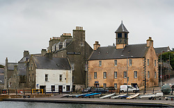 Historic old buildings facing harbour  in Lerwick, Shetland , Scotland, UK