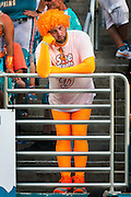 Miami Dolphins fan Jonathan Jenkins, of Fort Pierce, Fla., reacts to his team's defeat by the Buffalo Bills at Sun Life Stadium on Sunday, Sept. 27, 2015, in Miami Gardens. Buffalo defeated Miami, 41-14.