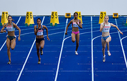 Eleni Artymata (ZYP), Muna Lee (USA), Beatriz Mangue (GEQ), Pia Tajnikar of Slovenia   compete in the women's 100 Metres Heats during day two of the 12th 2009 IAAF Athletics World Championships on August 16, 2009 in Berlin, Germany. (Photo by Vid Ponikvar / Sportida)