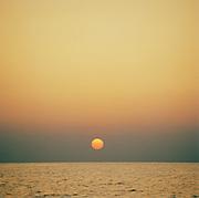 Sunset over the Mediterranean Sea at Panarea, Aeolian Islands, Italy