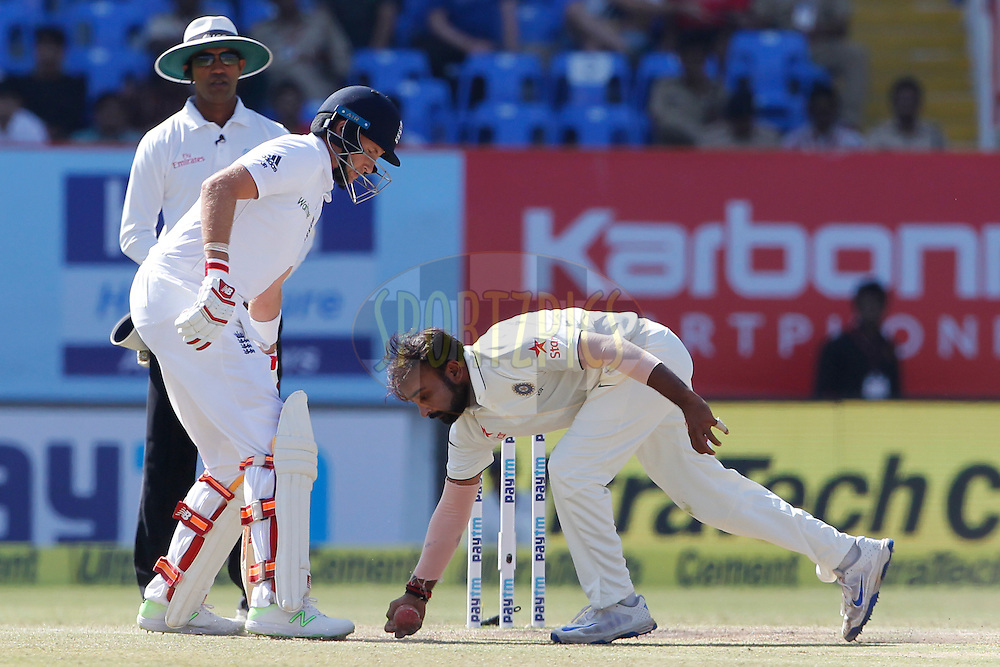 Amit Mishra of India in action during day 5 of the first test match between India and England held at the Saurashtra Cricket Association Stadium , Rajkot on the 13th November 2016.<br /> <br /> Photo by: Deepak Malik/ BCCI/ SPORTZPICS