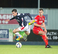 Falkirk's Joe Shaughnessy and Rangers Wallace. Falkirk 1 v 3 Rangers, Scottish League Cup game played 23/9/2014 at The Falkirk Stadium.