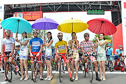 September 16, 2016 - Wuhan, China - (Left-Right) Meiyin Wang - Wisdom-Hengxiang Cycling team (White Best China Rider Jersey),  Marco Benfatto - Androni-Giocattoli team (Blue Best Sprinter Jersey), Mattia De Marchi - Mattia De Marchi - Androni Giocattoli (Yellow Leader Jersey) and Maral-Erdene Batmunkh - Terengganu Cycling Team (Polka Dot Mountain Jersey), ahead of the final sixth stage, 99.6km Wuhan Xinzhou Circuit race, of the 2016 Tour of China 1..On Friday, 16 September 2016, in Xinzhou, Wuhan , China. .On Friday, 16 September 2016, in Xinzhou, Wuhan , China. (Credit Image: © Artur Widak/NurPhoto via ZUMA Press)