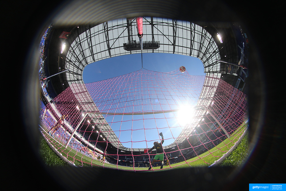 A generic image of a professional soccer goal mouth showing the netting and goal. Photo Tim Clayton