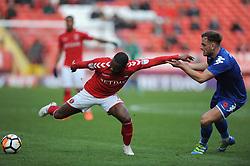 Charlton Athletic's Mark Marshall (left) and Truro City's Noah Keats battle for the ball