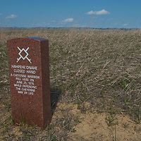 A headstones mark where an Indian died while attacking General George Custer's 7th Calvary at Little Bighorn Battlefield National Monument on June 25, 1876.
