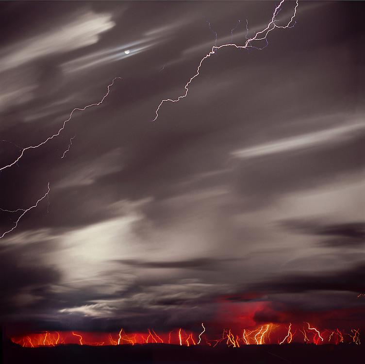 Lightning storm, moon, Comanche Grasslands, Southeast Colorado, time exposure,
