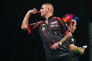 Nathan Aspinall during the Unibet Premier League Play-Offs at the Ricoh Arena, Coventry, England on 15 October 2020.