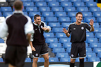 Photo: Daniel Hambury.<br />Chelsea Press Conference and Training.<br />12/09/2005.<br />Chelsea's Frank Lampard and John Terry share a joke during training.