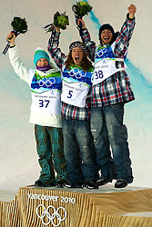 Olympic Winter Games Vancouver 2010 - Olympische Winter Spiele Vancouver 2010, Snowboard (Men's Halfpipe), From left, Peetu Piiroinen, FIN, Shaun White, USA, and Scott Lago, USA, stand upon the podium after the men's halfpipe competition at the 2010 Winter Olympics in Cypress, British Columbia, on Wednesday, Feb. 17, 2010.  *** Photo by newsport / HOCH ZWEI / SPORTIDA.com.