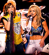 "Pop music star Britney Spears (R) and rock star Steven Tyler (L) from the band ""Aerosmith"" perform during the halftime show at Super Bowl XXXV in Tampa, Florida. January 28, 2001."