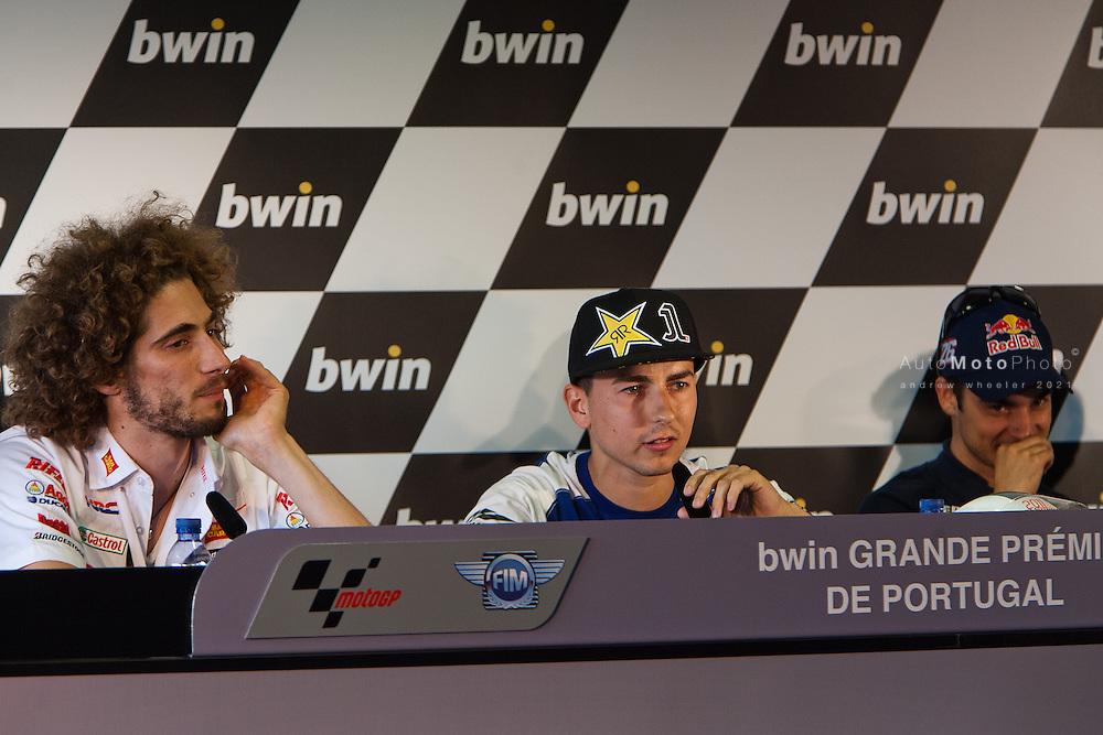 2011 MotoGP World Championship, Round 3, Estoril, Portugal, 1 May 2011, Marco Simoncelli, Jorge Lorenzo, Dani Pedrosa