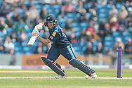 Gary Ballance (Yorkshire Vikings) hits a four and the partnership between him and Peter Handscomb (Yorkshire Vikings) reaches 100 during the Royal London 1 Day Cup match between Yorkshire County Cricket Club and Lancashire County Cricket Club at Headingley Stadium, Headingley, United Kingdom on 1 May 2017. Photo by Mark P Doherty.