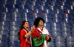Wales fans in the stands during the Guinness Six Nations match at The Stadio Olimpico, Rome.