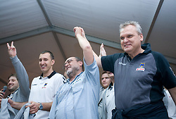 Franc Krasovec and coach Matjaz Tominec celebrate with fans at party after winning the  Final match of Slovenian Men Handball Cup between RK Cimos Koper and RK Celje Pivovarna Lasko, on April 19, 2009, in Arena Bonifika, Koper, Slovenia. Cimos Koper won 24:19 and became Slovenian Cup Champion. (Photo by Vid Ponikvar / Sportida)