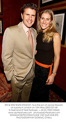 MR & MRS MARK STEWART, he is the son of Jackie Stewart, at a party in London on 13th May 2002.OZY 48