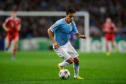 Man City Midfielder Jesus Navas (ESP) in action during the first half of the match - Photo mandatory by-line: Rogan Thomson/JMP - Tel: Mobile: 07966 386802 - 02/10/2013 - SPORT - FOOTBALL - Etihad Stadium, Manchester - Manchester City v Bayern Munich - UEFA Champions League Group D.