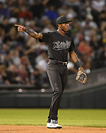CHICAGO - AUGUST 23:  Tim Anderson #7of the Chicago White Sox looks on against the Texas Rangers during Players Weekend on August 23, 2019 at Guaranteed Rate Field in Chicago, Illinois.  (Photo by Ron Vesely)  Subject:   Tim Anderson