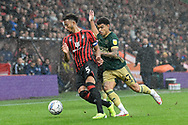 Lloyd Kelly (5) of AFC Bournemouth battles for possession with Morgan Gibbs-White (27) of Sheffield United during the EFL Sky Bet Championship match between Bournemouth and Sheffield United at the Vitality Stadium, Bournemouth, England on 2 October 2021.