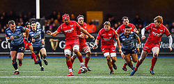 Scarlets' Josh Macleod kicks ahead - Mandatory by-line: Craig Thomas/Replay images - 31/12/2017 - RUGBY - Cardiff Arms Park - Cardiff , Wales - Blues v Scarlets - Guinness Pro 14