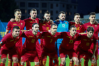 PODGORICA, MONTENEGRO - JUNE 07: Montenegro lineup before 2020 UEFA European Championships group A qualifying match between Montenegro and Kosovo at Podgorica City Stadium on June 7, 2019 in Podgorica, Montenegro MB Media