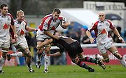Twickenham, GREAT BRITAIN, Bristols Gareth LLEWELLYN, tackles by Quins Andre VOS, during the Guinness Premieship match, NEC Harlequins vs Bristol Rugby, at the Twickenham Stoop Stadium, England, on Sat 24.02.2007  [Photo, Peter Spurrier/Intersport-images].....